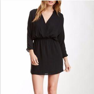 Eight sixty Surplice Chiffon Mini Dress Black S